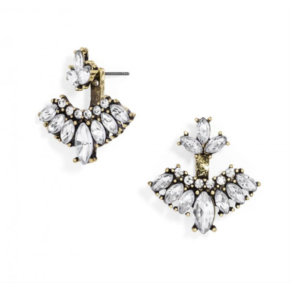 Ice Warrior Crystal Art Deco Ear Jackets